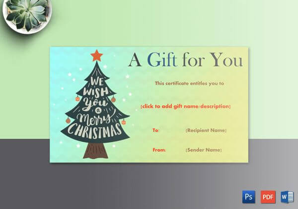Christmas Gift Certificate (Bold Christmas Tree Decorated With Ornaments)