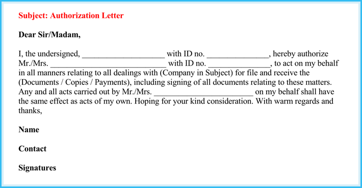 editable letter of authorization to act on behalf