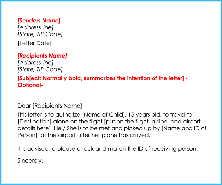 sample authorization letter for a child to travel alone