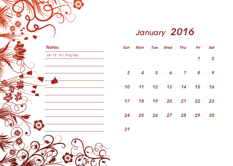 2016 Calendar Template for Microsoft® Word