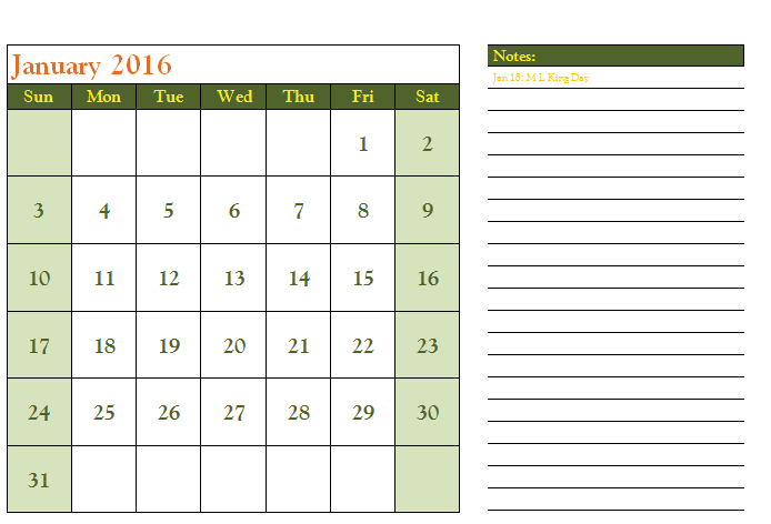 2016 Calendar Template with US Holidays