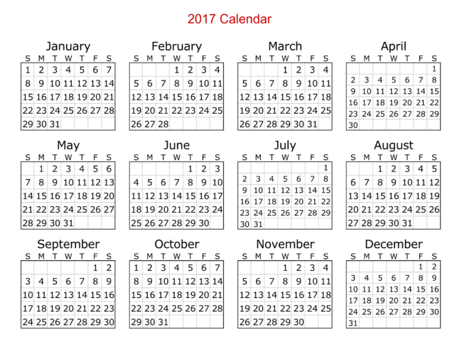 2017 Calendar Templates 8 Weekly Monthly Word Excel Pdf