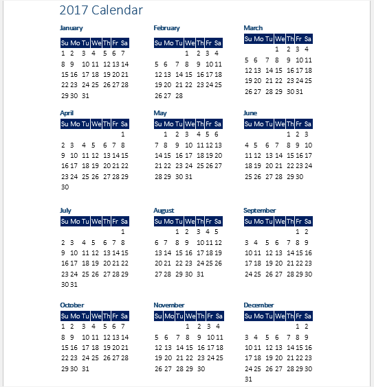 2017 calendar templates word