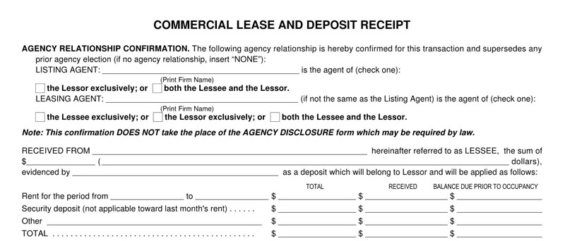 Commercial Lease Deposit Receipt Template