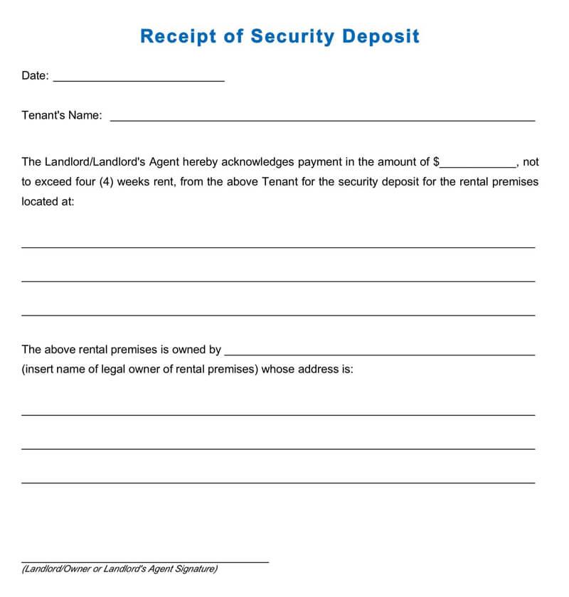 Deposit Receipt Template PDF