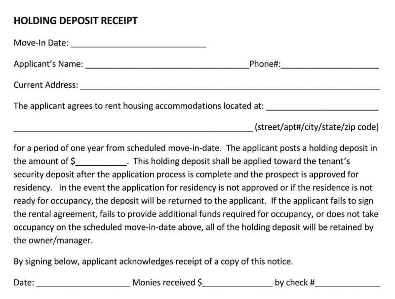 Holding Deposit Receipt PDF