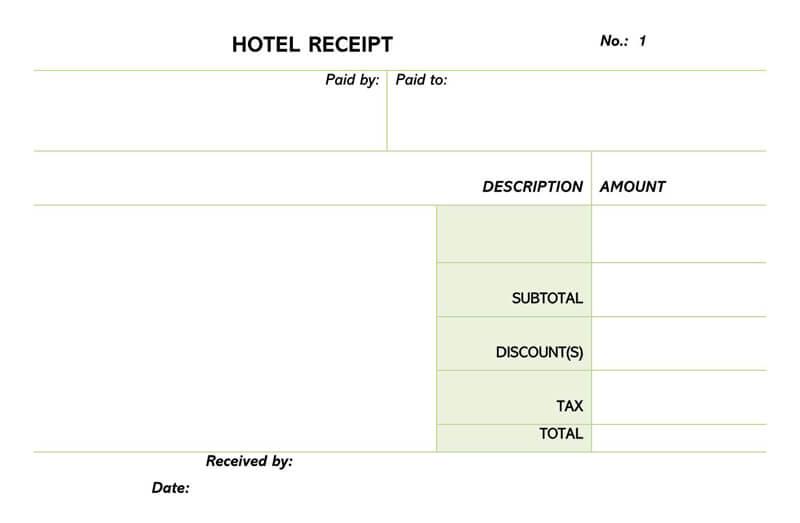 Hotel Receipt Template 06