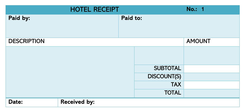 Hotel Receipt Template 09