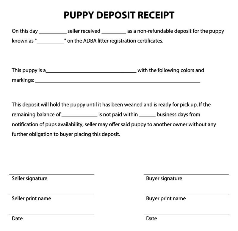 10  free deposit receipt templates  cash  security