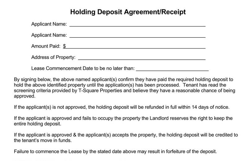 Receipt for Holding Deposit