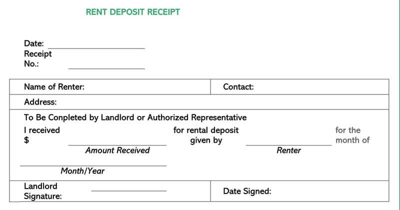 Rent Deposit Receipt
