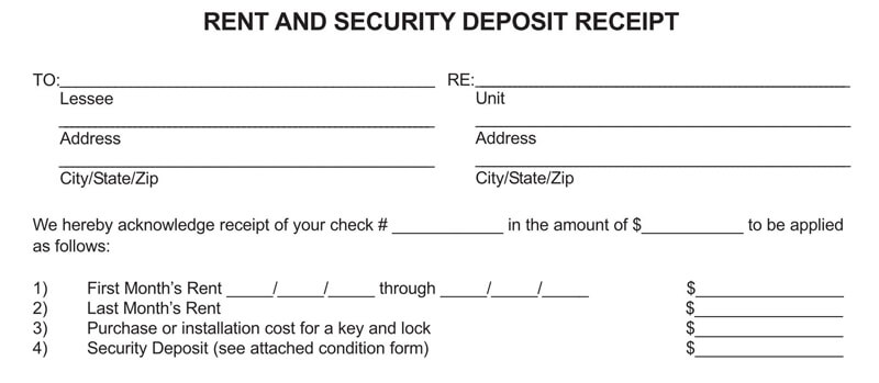 Rent Deposit Receipt Template