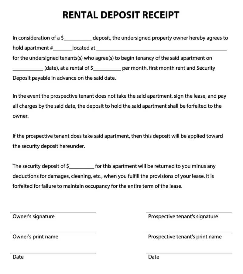 Rental Deposit Receipt Template