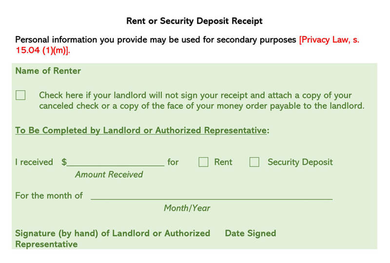 Sample Rent Deposit Receipt