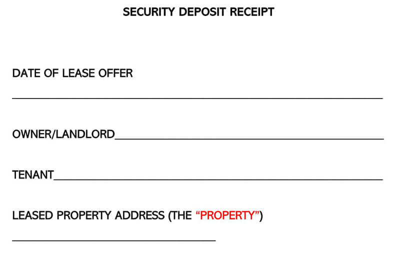 Security Deposit Receipt Word