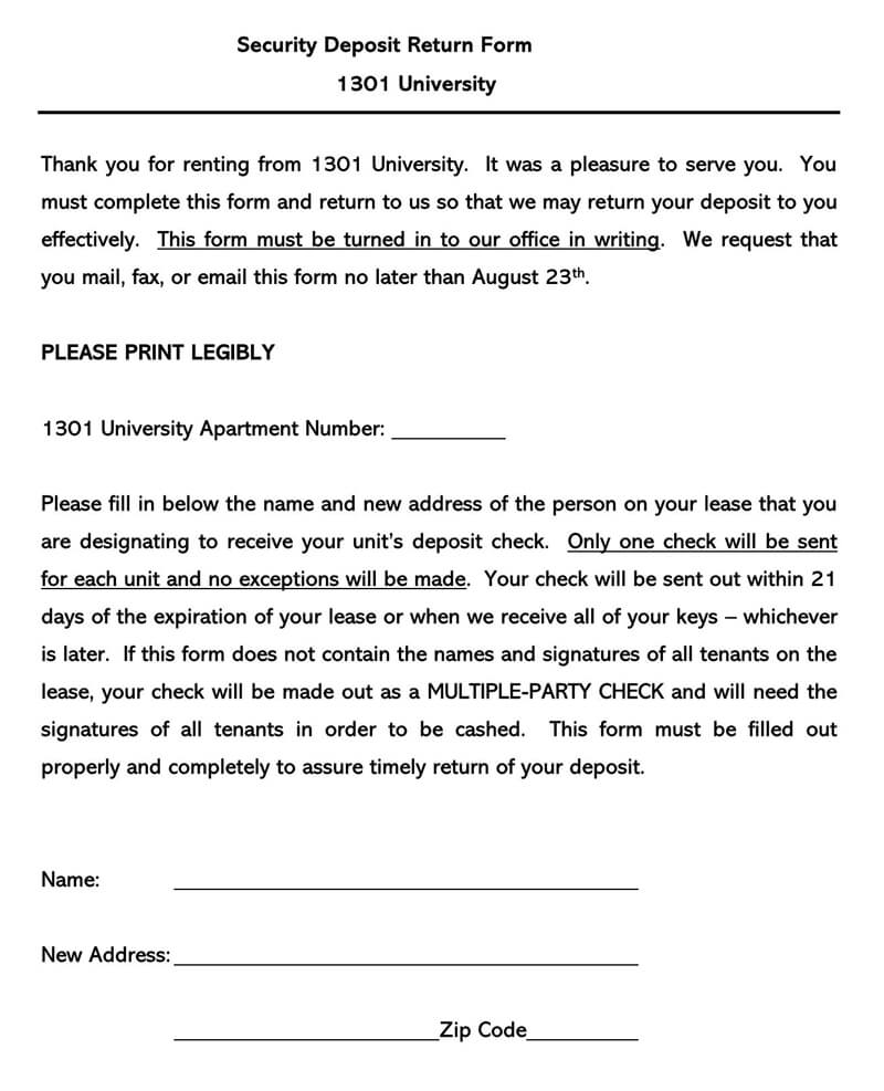 Security Deposit Return Form
