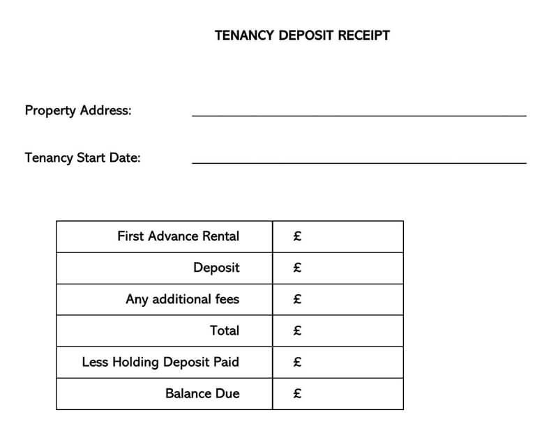 Tenancy Deposit Receipt Template Word
