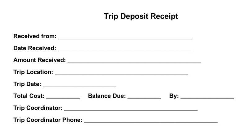 Trip Deposit Receipt Template