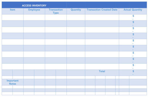 Access Inventory Receipt Template