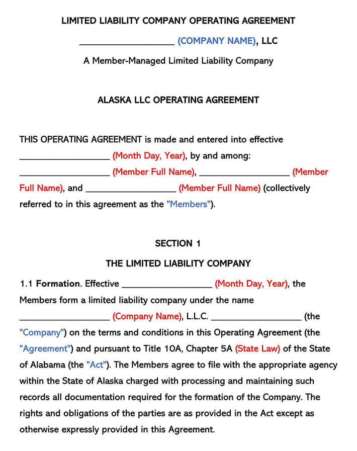 Alaska LLC Operating Agreement