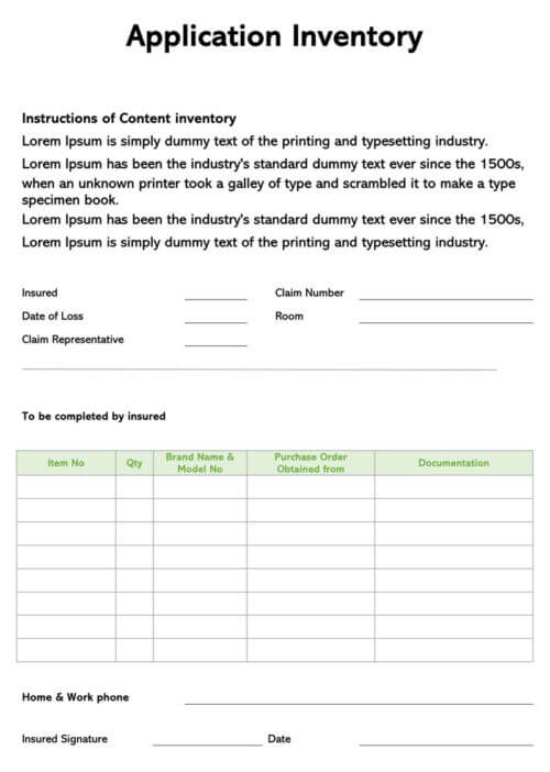 Application Inventory Receipt Template