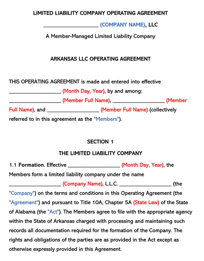 Arkansas LLC Operating Agreement