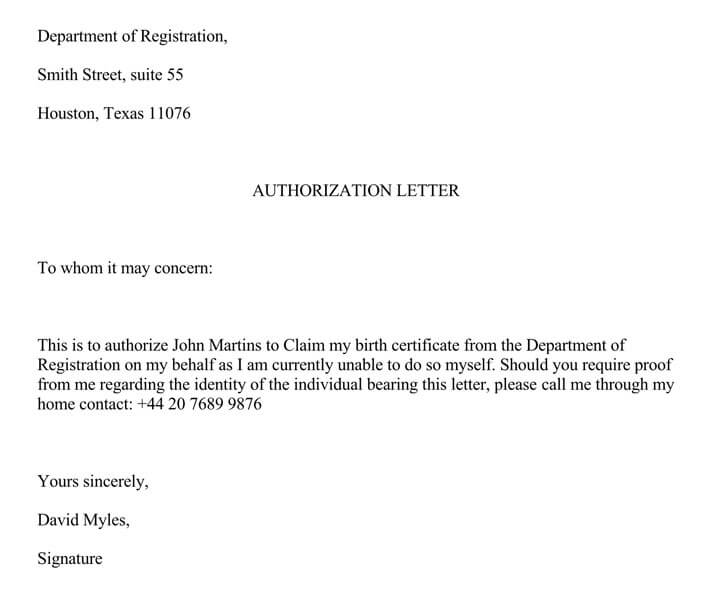 Authorization to Claim Birth Certificate from the Department of Registration (Word Format)