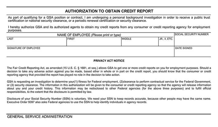 Authorization to Obtain Credit Report Form