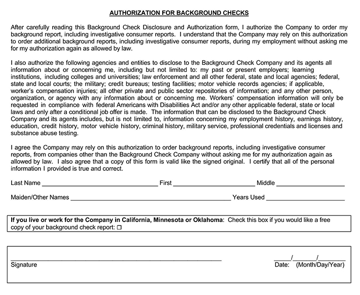 Free Background Check Authorization Consent Forms Pdf Word