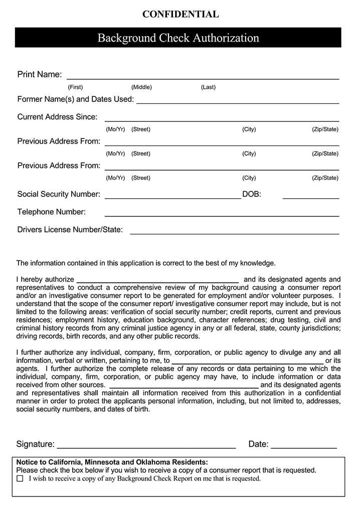 Background Check Authorization Form