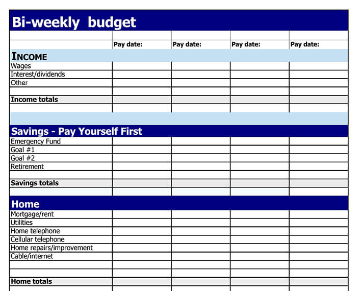 bi weekly paycheck budget printable