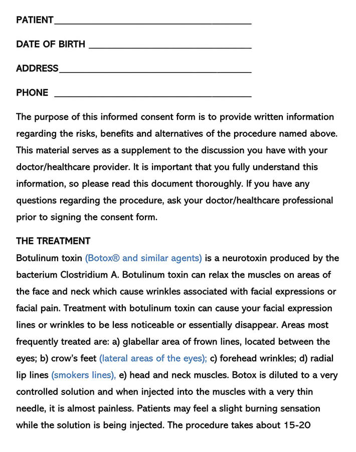 Botox Consent Form Word