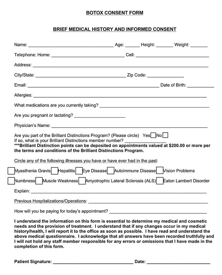 Botox Consent and Medical History Form