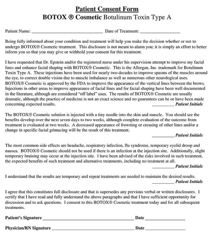 Botox Patient Consent Form