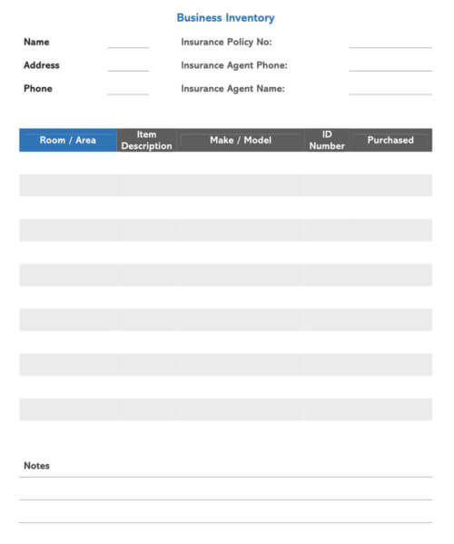 Business Inventory Receipt Template