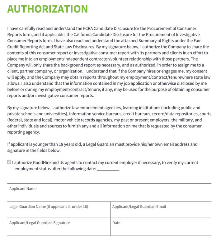 Candidate Check Authorization Form