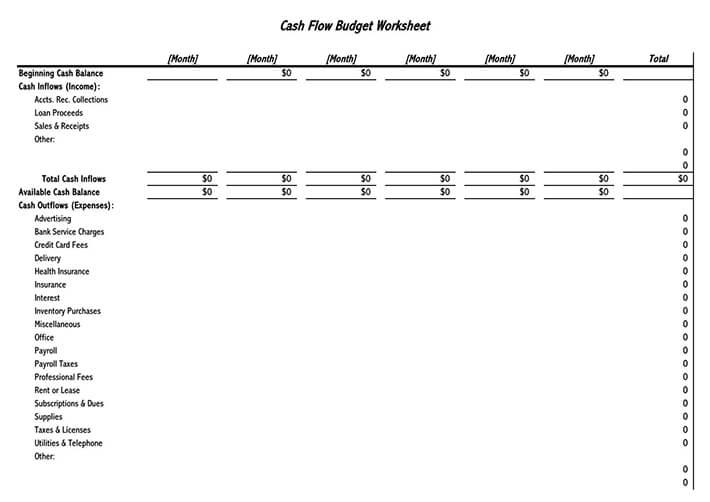 personal cash flow budget template