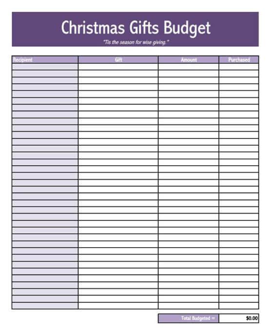 christmas budget app