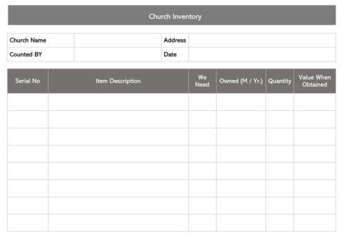 Church Inventory Receipt