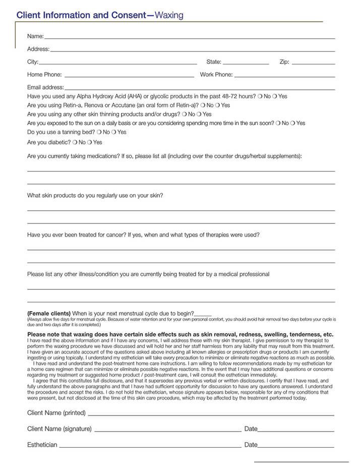 Client Information for Waxing Consent Form