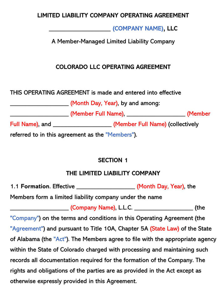 Colorado LLC Operating Agreement