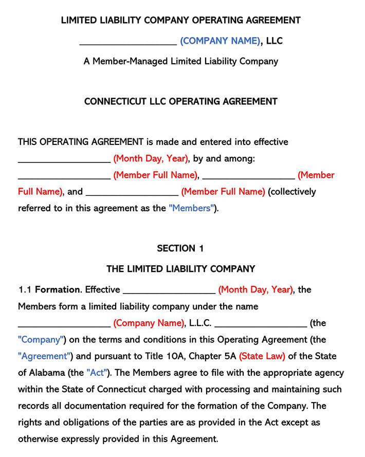 Connecticut LLC Operating Agreement