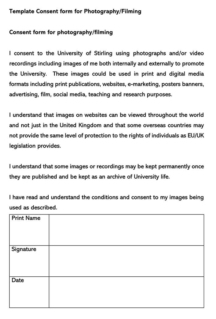 Consent Form for Photography