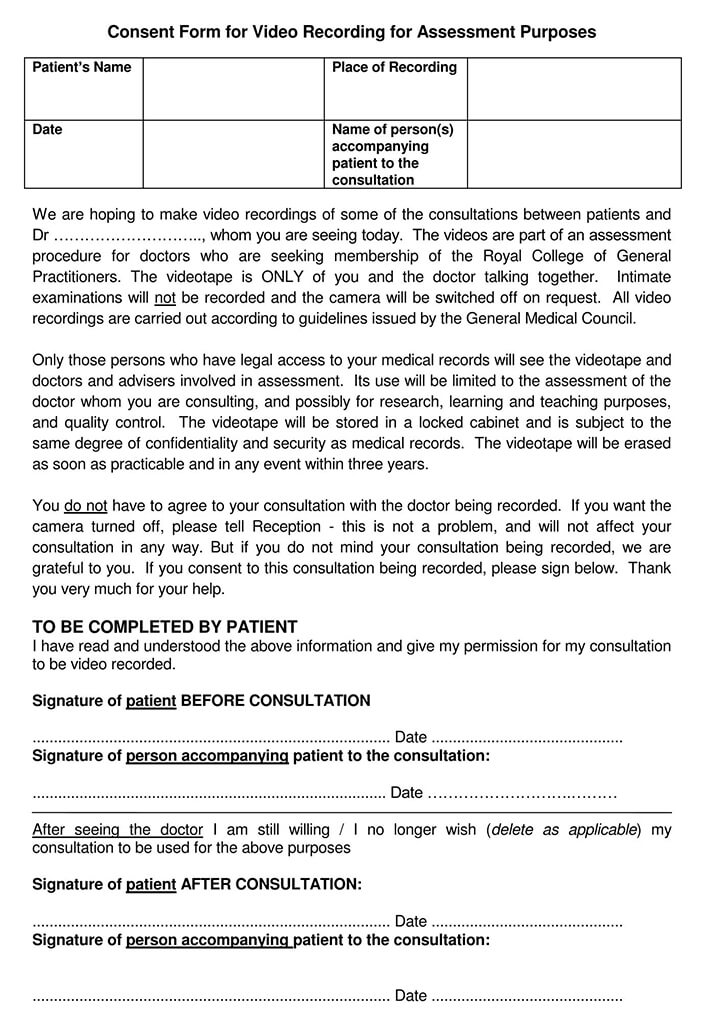 Consent Form for Video Recording for Assessment Purposes