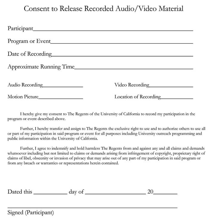 Consent to Release Recorded Audio or Video Material