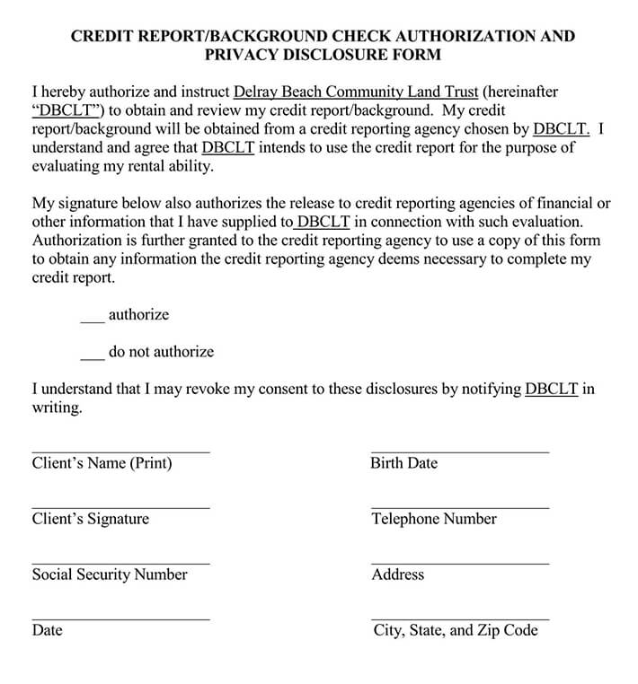 Credit Background Check Authorization Form