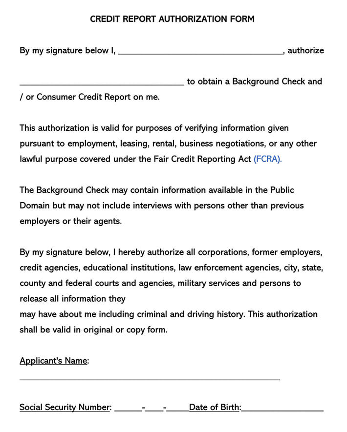 Credit Report Authorization Consent Forms
