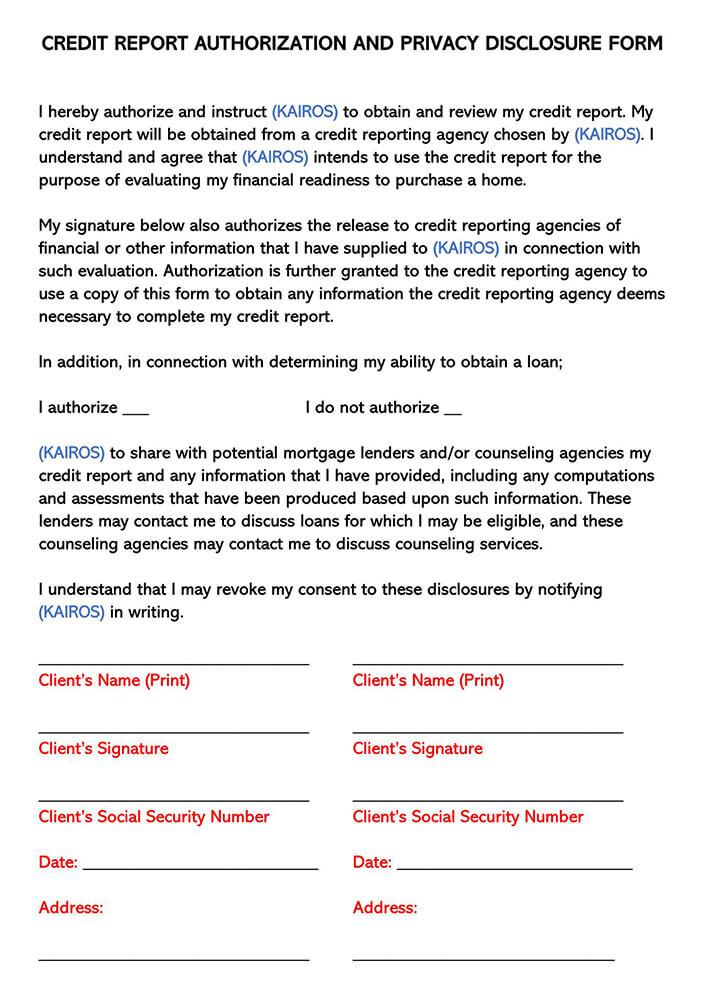 Credit Report Disclosure Consent Form