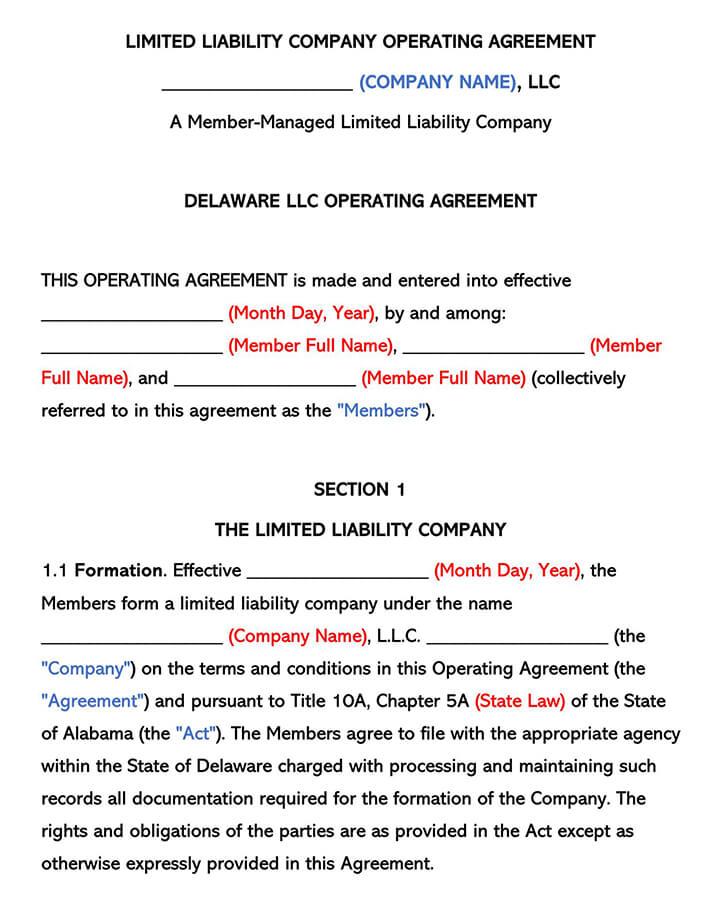 Delaware LLC Operating Agreement
