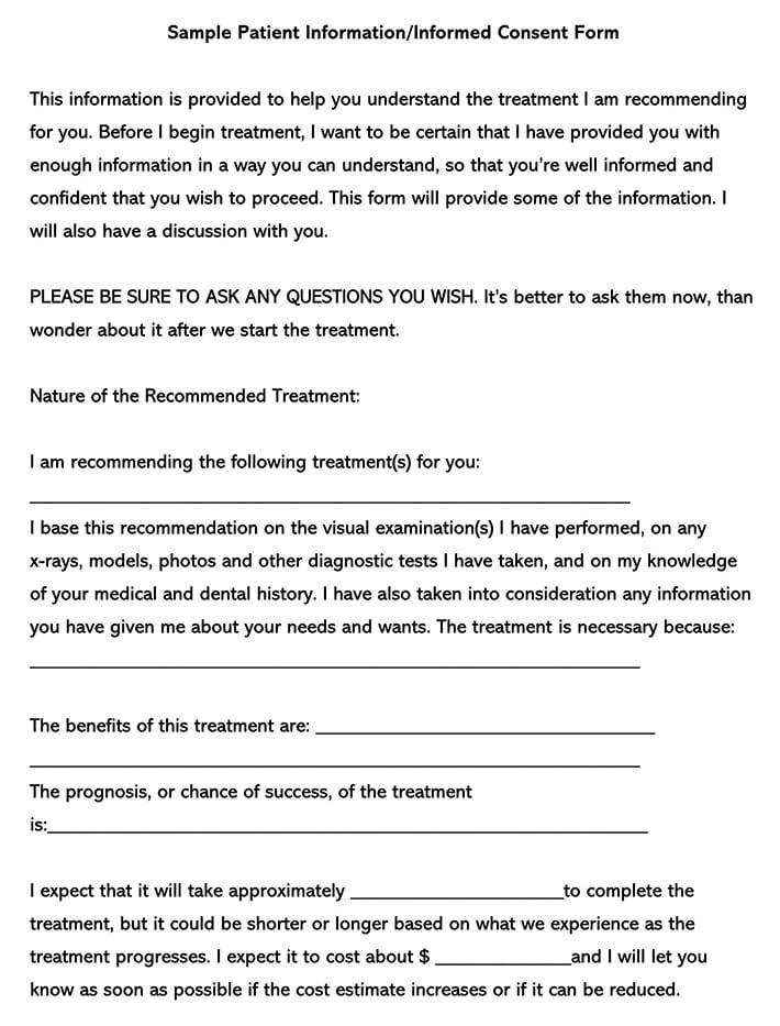 Dental Patient Informed Consent Form Sample
